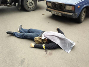 Another Dead Civiian shot by Right Sector in Mariupol
